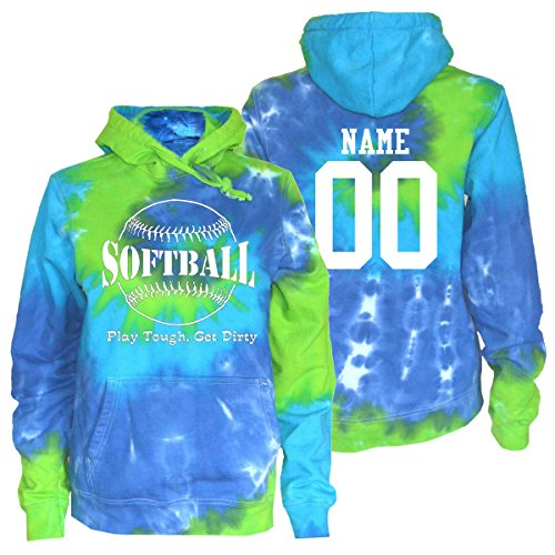 JANT girl Custom Softball Tie Dye Sweatshirt - Play Tough Large Logo (Blue Green Twist, S)