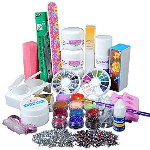 ReNext Primer Acrylic Powder Liquid Nail Art Brush Form Glue UV Glitter Tips Kits