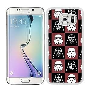Funda carcasa para Samsung Galaxy S6 Edge estampado Darth Vader con soldado fondo rojo y negro SW borde blanco