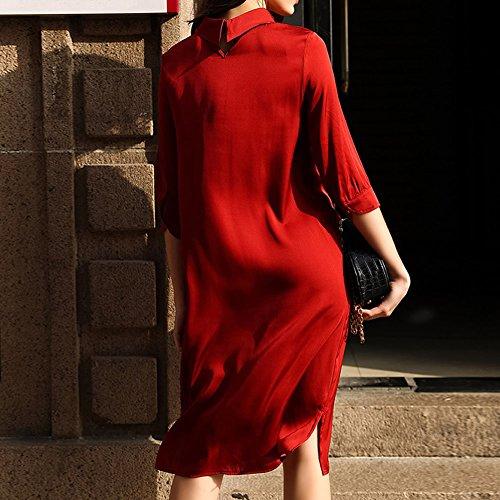 Maniche Vestito Formato Seta Delle Ginocchio Del Il Rosso Cocktail Più S9967 Da Donne Estate Senza Lungo epoca Dissa Di wqIUB4w