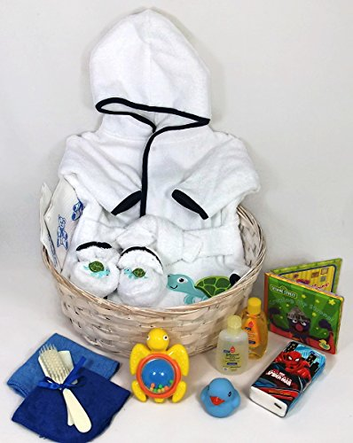 Sunshine Gift Baskets - Baby Bath Robe Gift Set with a Handy Pack - Blue with a Turtle