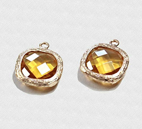 2 Framed Glass Pendants Citrine Color Matte Gold with Faceted Cu Jewelry Making Supply Pendant Bracelet DIY Crafting by Wholesale Charms ()