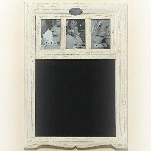 Whole House Worlds The Romantic Hamptons Black Board with 3 3 1/3 x 5 Inch Photo Frames, Fir Wood Frame, Glass, MDF, 22 1/2 Inches Tall, By