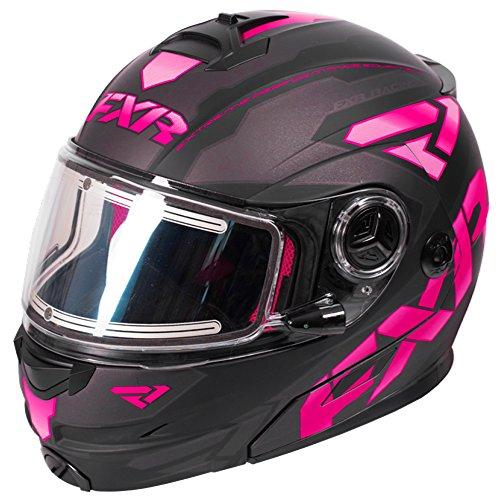 Snowmobile Shield (FXR Fuel Modular Elite Helmet W/Electric Shield Polycarbonate Alloy Snowmobile - Black/Fuchsia/Char - Medium)