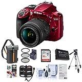 Nikon D3400 DX-Format DSLR Camera Body with AF-P DX NIKKOR 18-55mm F/3.5-5.6G VR Lens - Red - Bundle With 32GB SDHC Card, Camera Bag, Spare Battery, Tripod, 55mm Filter Kit, Software Package, More