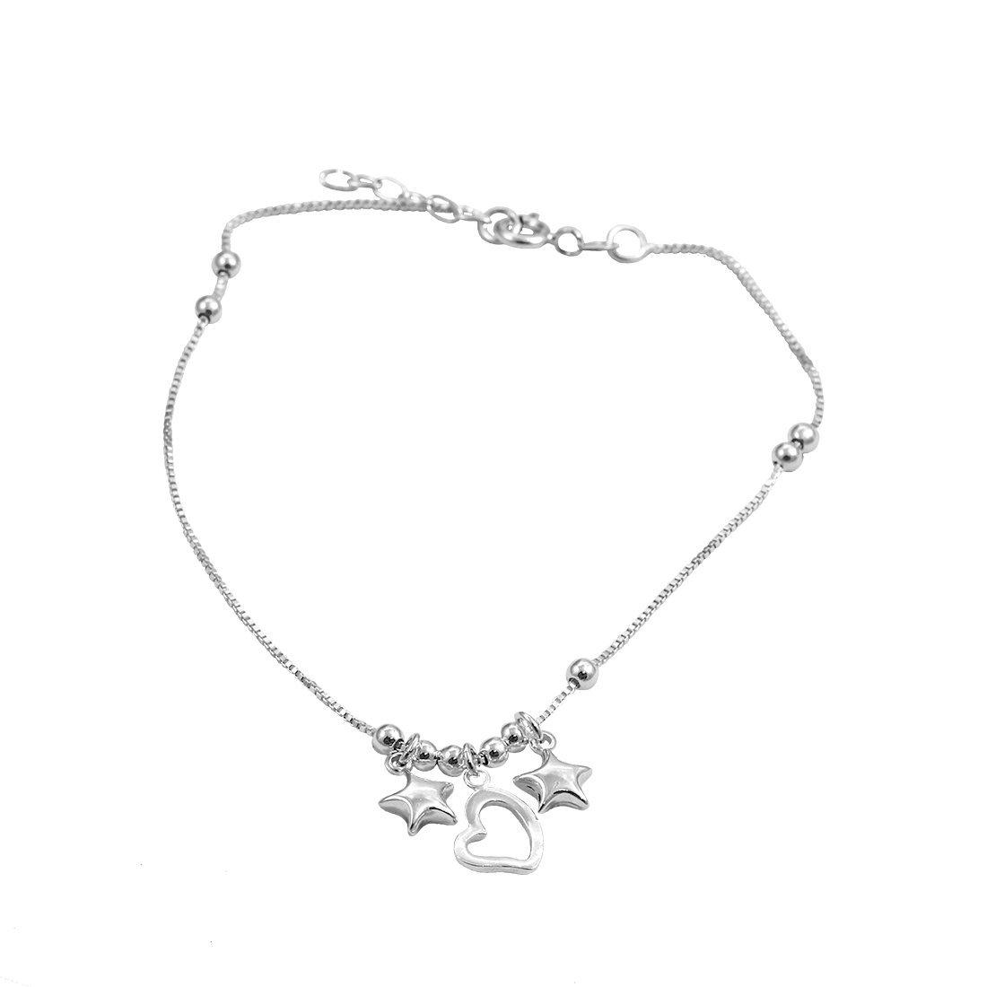 Blue Apple Co. Star Heart Bead Ball Design Anklet Bracelet 925 Sterling Silver 9''+1'' Extension