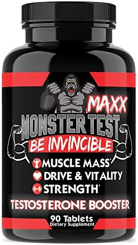 Angry Supplements Monster Test MAXX Testosterone Booster for Men – Maximum Strength Energy Pills for Natural Muscle Growth Pump – Kit to Increase Drive and Vitality 1-Pack