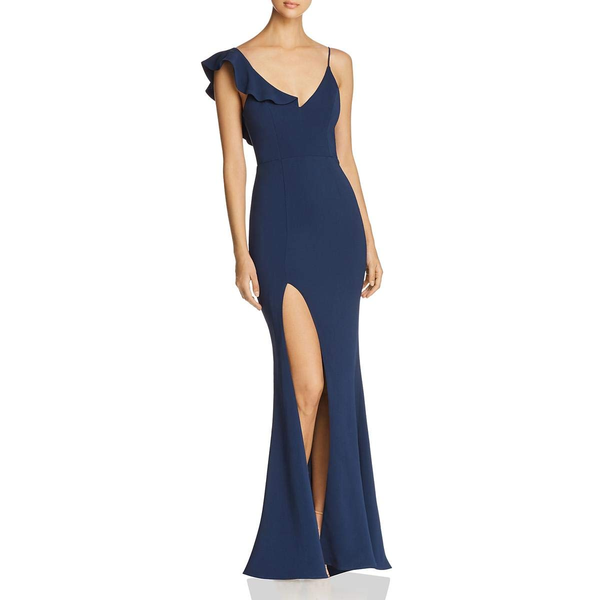 Navy La Maison Talulah Womens Vanity Fair One Shoulder FrontSlit Evening Dress