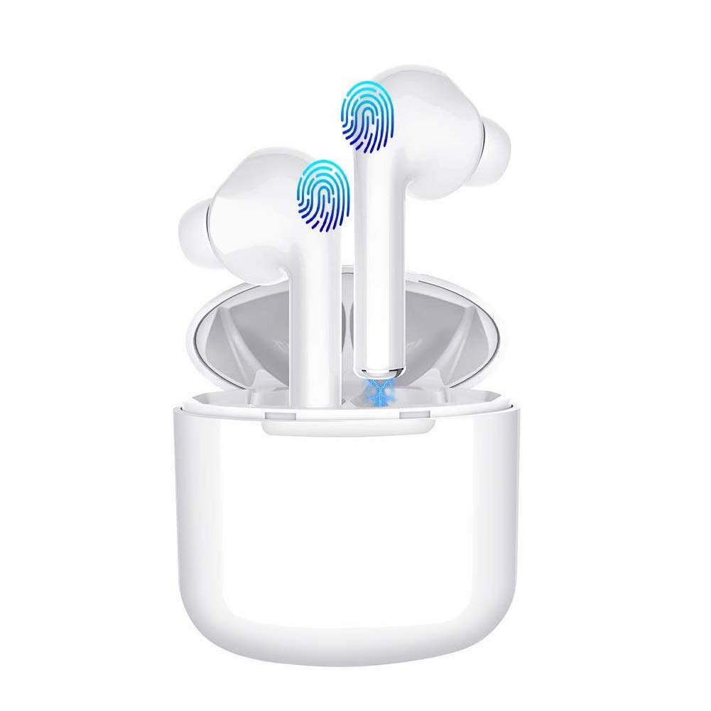 Wireless Earbuds,Bluetooth Headphones Mini in-Ear Headsets Sports Earphone with True Wireless Earbuds and Built-in Charging case for Airpods Android iPhone White