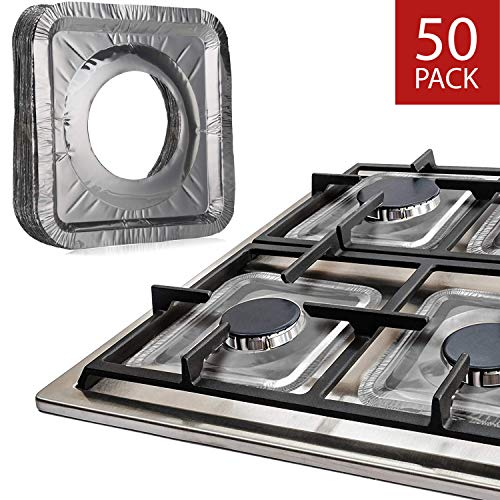 Gas Stove Burner Liners by Linda's Essentials (50 Pack) | Disposable Aluminum Stove Burner Covers | 8.5″ Square Heat Resistant Gas Range Cover | Keep Stovetop Clean | Thick Foil Gas Range Protector