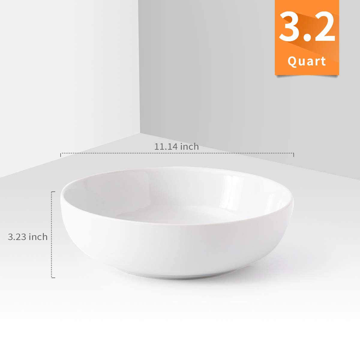 Large Ceramic Bowl Set White 3.2 Quart Porcelain Serving Bowl Set Salad Bowl Set 2 Pack