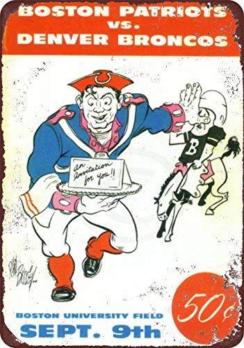 1960 Boston Patriots VS Denver Broncos Vintage Reproduction Metal Sign 8 x ()