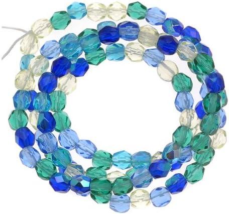 Czech Fire Polish Glass Beads 4mm Round Lagoon Blue Green Mix (100)