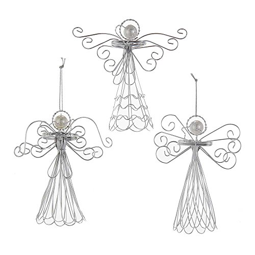 Three Angels Ornament - Kurt Adler 4.7-Inch Wire Angel Ornament Set of 3, 3 Piece
