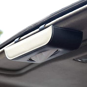 Car Tissue Holder Mount Sun Visor Napkin Holder PU Leather Backseat Case Hanging