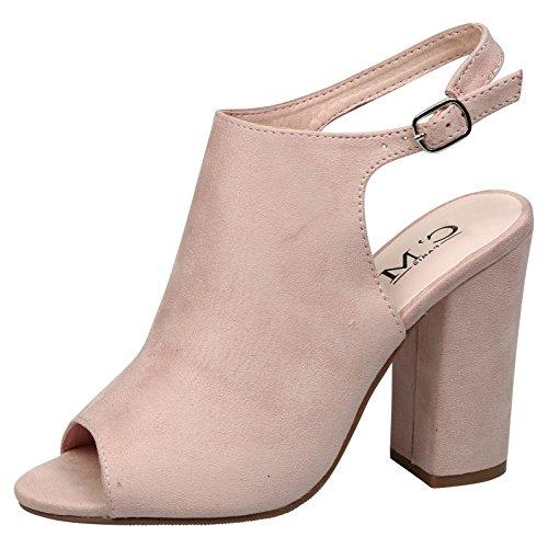 Feet First Fashion Felicia Womens High Block Heel Peep Toe Open Heel Ankle Boots Pink Faux Suede tiFbAswu