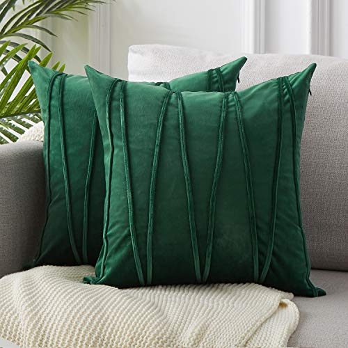 - Top Finel Decorative Hand-Made Throw Pillow Covers for Couch Bed Soft Particles Striped Velvet Solid Cushion Covers 20 x 20 Inch 50 x 50 cm, Pack of 2, Dark Green