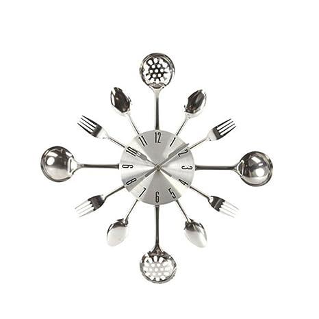 Cdrox 3D extraíble Moderna Cocina Cubiertos Cuchara Tenedor Reloj de Pared Tatuajes de Pared Espejo