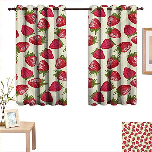 """BlountDecor Fruits Drapes for Living Room Strawberries Vivid Growth Plant Vitamin Organic Diet Refreshing Image 55""""x 72"""",Suitable for Bedroom Living Room Study, etc."""