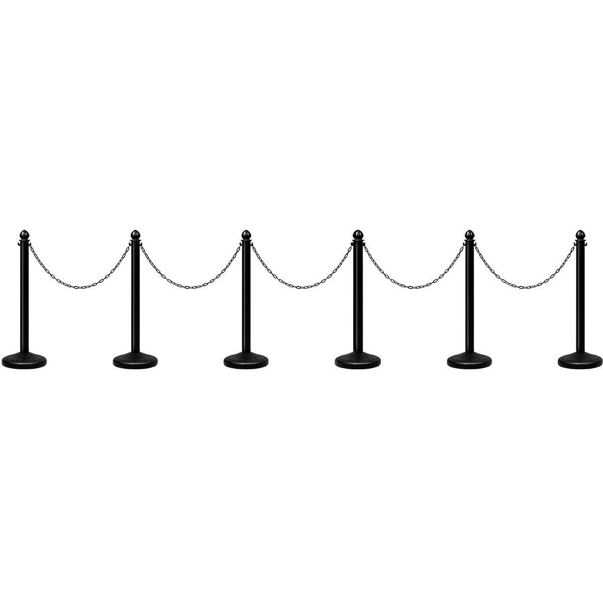 Goplus 6pcs Plastic Stanchion Set Crowd Control Stanchions Barriers Outdoor and Indoor Stanchions with 39.5'' Connect Chain, C-Hooks by Goplus