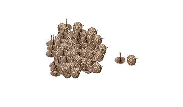 sourcingmap Chincheta decorativa redonda abovedada con clavo tono bronce Impresi/ón de flores Vintage de metal 100 PCS