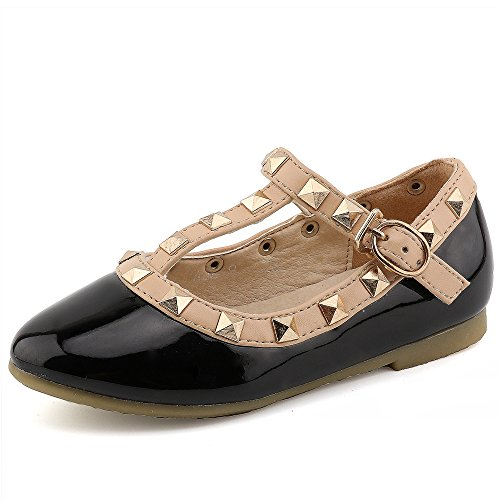 (CCTWINS KIDS Toddler Little Kid Baby Girl Studded T-Strap Flat Shoes for Child(G358-black-21))