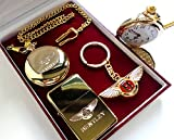The British Gold Company Bentley Real 24K Gold Clad Keyring Pocket Watch & Cigar Cigarette Lighter Luxury Set In Presentation Case Mulsanne Continental