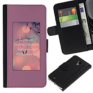 All Phone Most Case / Oferta Especial Cáscara Funda de cuero Monedero Cubierta de proteccion Caso / Wallet Case for Samsung Galaxy S4 Mini i9190 // God Motivational Inspirational