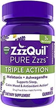 ZzzQuil Pure Zzzs Triple Action Gummy Melatonin Sleep-Aid with Ashwagandha