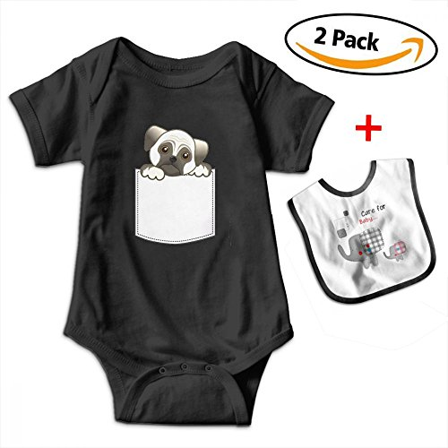Designer Dog Pillow (KAYERDELLE Pocket Pug Dog Newborn Babys Boy's & Girl's Short Sleeve Romper Bodysuit Outfits for 3-24 Months and Baby Bib)