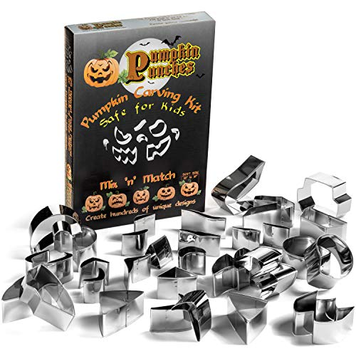 Pumpkin Punches Carving Kit - Carving Tool Kit - Safe for Children - Family Favorite - Safe for Kids - 31 mix and match pieces - No Knives Needed - Halloween Fun for Everyone - Easy Jack-O-Lantern ()