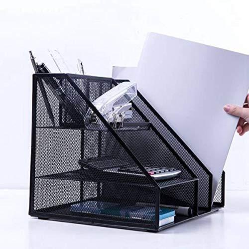 LISAY Desk Organizer,Magazine Holder,Desk Organizers and Accessories,Desktop Office Storage File Tray Rack,Organizer Sorter,Black Metal Mesh (Color : Black)