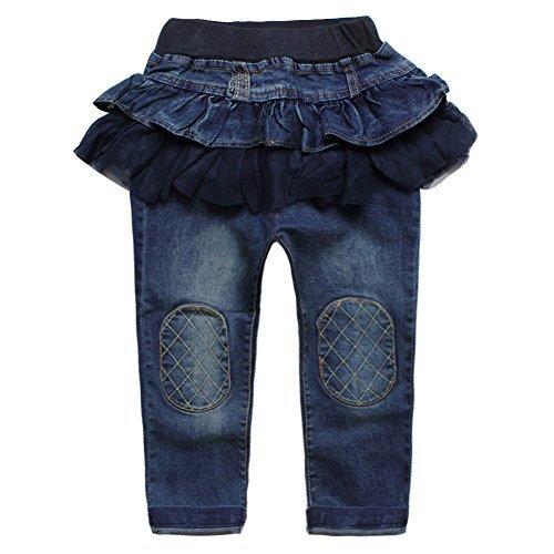 Skirts Culottes Jeans Denim Patchs Yarn Tutu Pants Size 18M (Blue Denim Jumper)