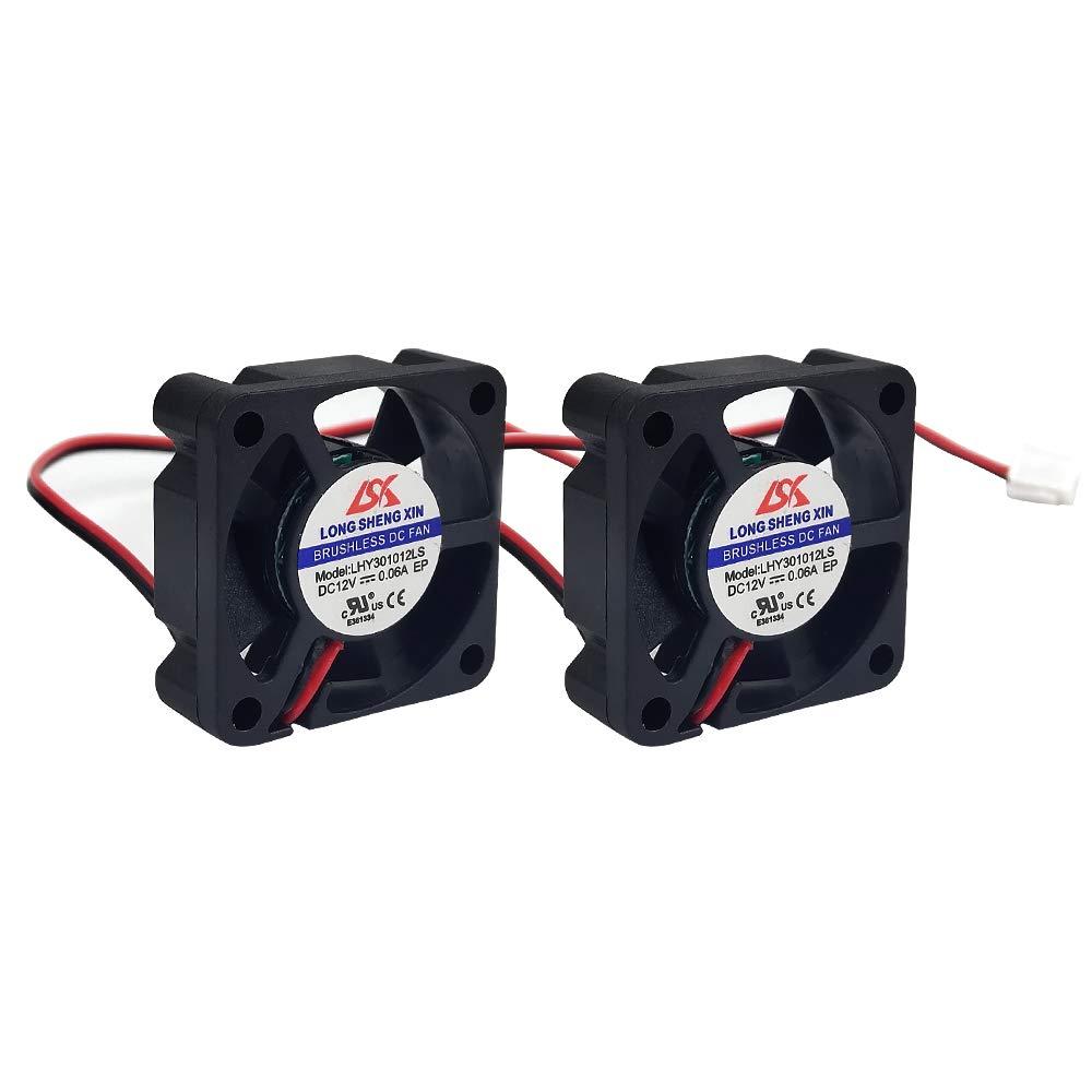 HAWKUNG 2 Pieza Impresora 3D Ventilador de Enfriamiento Extrusora Accesorio 3010 30 x 30 x 10 mm DC 12V 2 Pin Conector Rodamiento Silent Brushless Coolsink Heater Blower para impresora 3D, Negro