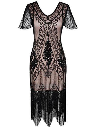 kayamiya Women's Great Gatsby Dress 1920s Sequins Art Deco Flapper Cocktail Dress with Sleeve XL Black Beige]()