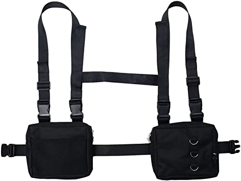 Unisex Two Pockets Hip-Hop Oxford Fanny Pack Bag Tactical Harness Chest Rig Bag