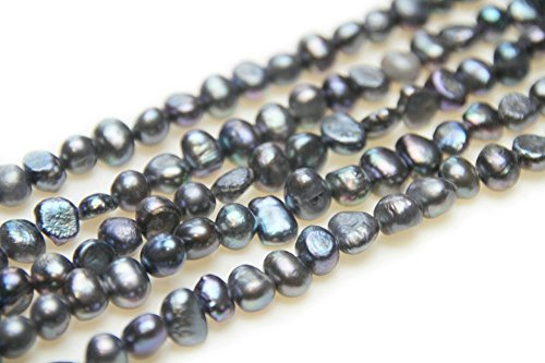 Strand Pearl Nugget (7-8mm Freshwater Cultured Nugget Pearl Strands in 16 inches for Jewelry Making Beads (Black Dyed, Grade A))