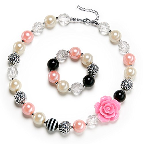 vcmart Rose Girls Cute Chunky Bubblegum Necklace Bracelet Set Kids Birthdays Day Gift