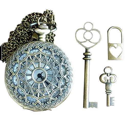 4pcs Alice in Wonderland Steampunk pocket watch necklace