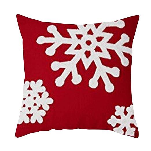 Roblue Funda de cojín Cuadrada Merry Christmas Ciervo Rojo ...