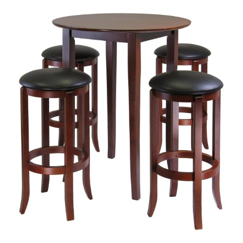 Winsome Fiona 5Piece Round High Pub Table Set in Antique Walnut Finish