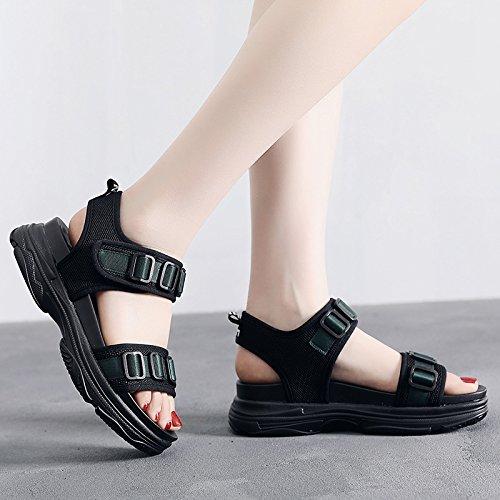 Universel Plate foncé Épais Nouvelle Sandales Vintage Fond Sandales Forme Femelle Chaussures QQWWEERRTT Vert Mode Sport D'été wTH1YBq