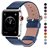Fullmosa Compatible Apple Watch Bands 42mm 38mm Calf Leather Compatible iWatch Bands Replacement Strap Compatible Apple Watch Series 3 Series 2 Series 1, 42mm Dark Blue