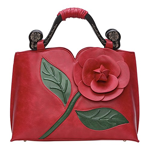 Handbag Chinese Shoulder Retro Tote Red QZUnique Leather PU Flower Style Bags Bags 1 Rose UzxEwqdvw