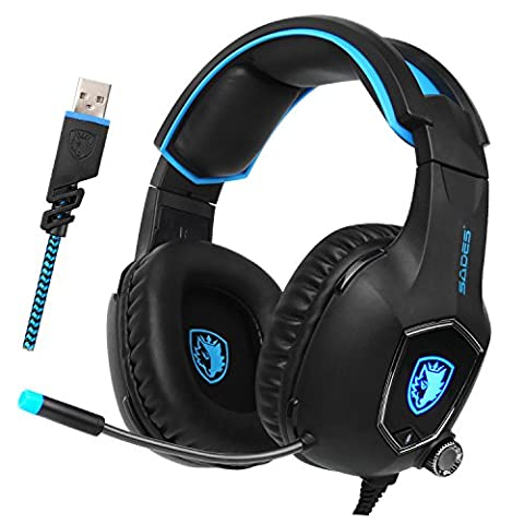 2017 New Update Sades SA-R13 Stereo USB Computer Gaming Headset Headphone Volume Control with Mic LED Light for PC MAC Computer - Xbox 360 Usb Headset