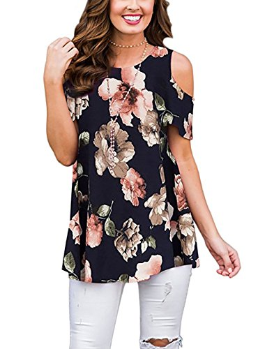 ANDUUNI Womens Floral Print Cold Shoulder Swing Tunic Tops Casual Loose Short Sleeve Blouse Shirts (Navy Flower, L)
