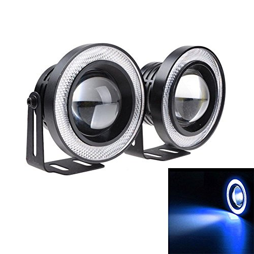 "Etopars 2 X 2.5"" COB LED Fog Light Projector Car Blue Angel Eyes Halo Ring DRL Lamp"