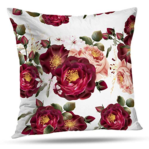 Geericy Vintage Rose Flower Decorative Throw Pillow Covers, Beautiful Wallpaper Pattern with Roses Cushion Cover 18X18 Inch for Bedroom Sofa
