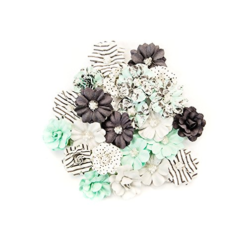 Prima Marketing Floral Embellishments - Prima Marketing Inc. 634445 Flirty Fleur Flowers, Black & Teal