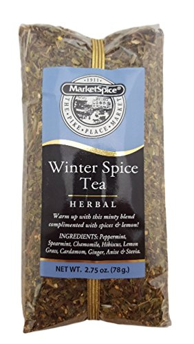 Winter Spice Tea, Market Spice Herbal Loose Leaf Winter Warmer Tea. In a 2.75oz Cellophane Bag (Powder Tea Blueberry Green Stash)